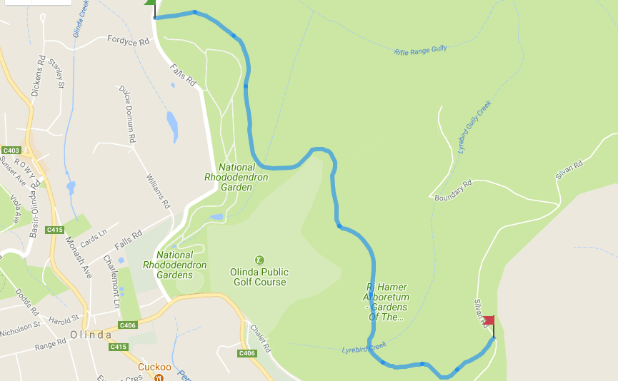 Mathias Track Map, Dandenong Ranges National Park