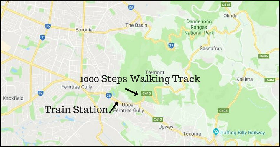 Map of how to get to the 1000 Steps from Melbourne
