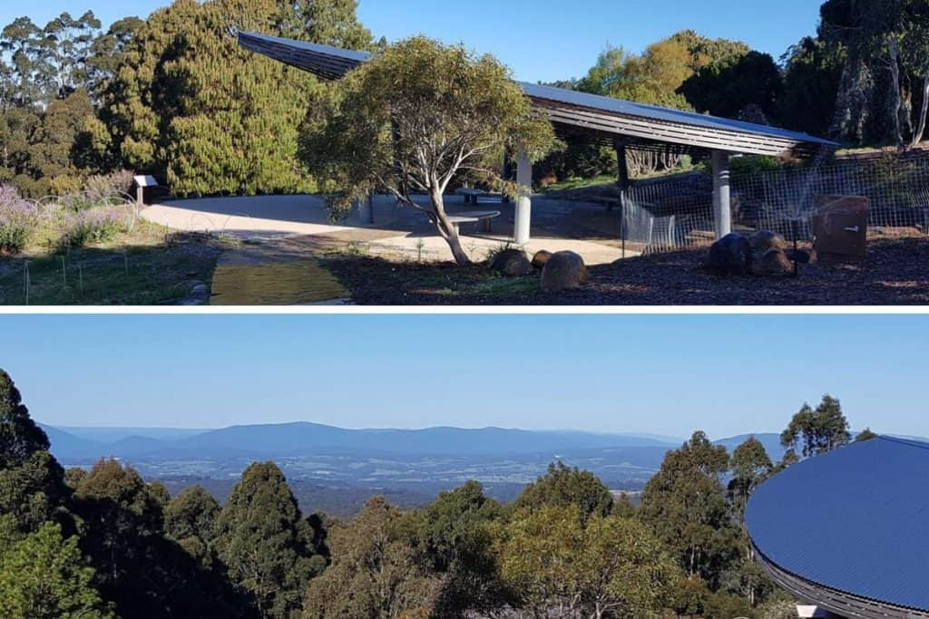 Views from Serenity Point over the Yarra Valley. Dandenong Ranges Botanic Garden,