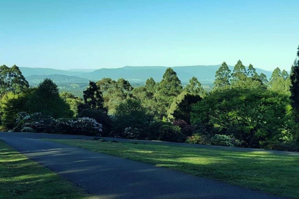 Views across the valley from the Dandenong Ranges Botanic Garden, also known as the National Rhododendron Gardens in Olinda.