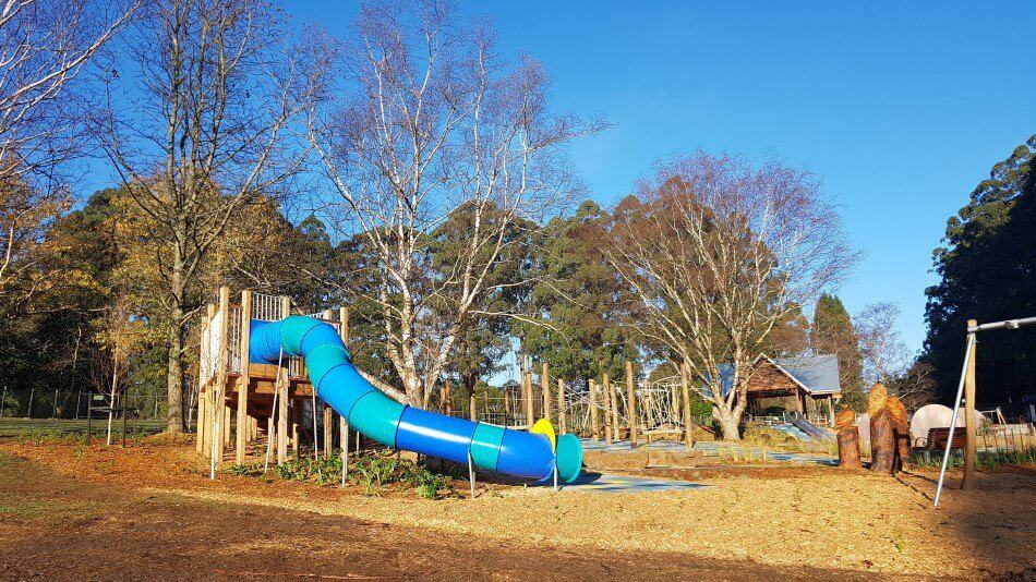 Slides at the playground on the old Olinda Golf Course